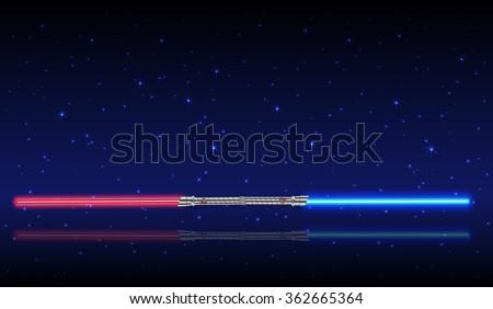 Light swords. Weapon futuristic from star war, shiny fight, vector illustration - stock vector