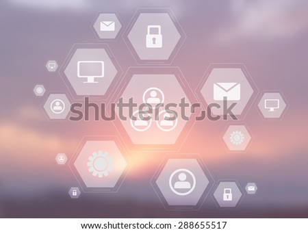 Light tech communication icons on blurred sky. Vector hexagons bright design