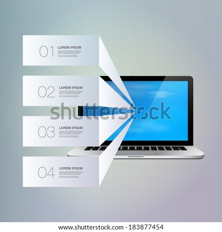 Light text boxes with realistic 3d laptop computer with blue sky wallpaper can be used for workflow layout, diagram, chart, number options, web design.  Eps 10 stock vector illustration - stock vector