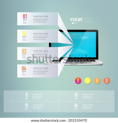 Light text boxes with realistic 3d laptop computer with blue sky wallpaper. Eps 10 stock vector illustration  - stock vector