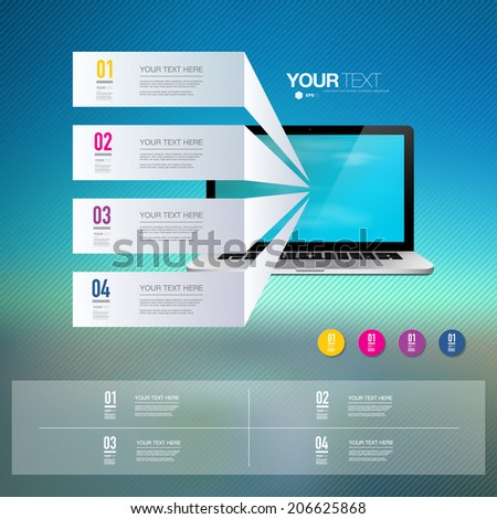 Light text boxes with realistic 3d laptop computer with blue sky wallpaper Eps 10 stock vector illustration  - stock vector