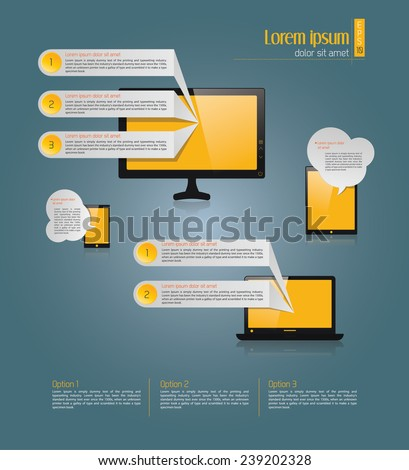 Light text boxes with realistic 3d laptop, desktop computer, i phone, tab with yellow background can be used for workflow layout, diagram, chart, number options, web design. Eps 10 vector illustration - stock vector