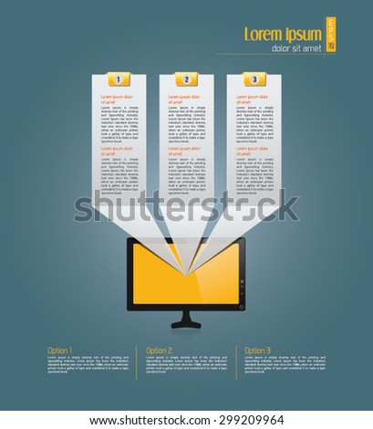 Light text boxes with realistic 3d laptop, desktop computer with yellow background can be used for workflow layout, diagram, chart, number options, web design. Eps 10 vector illustration - stock vector