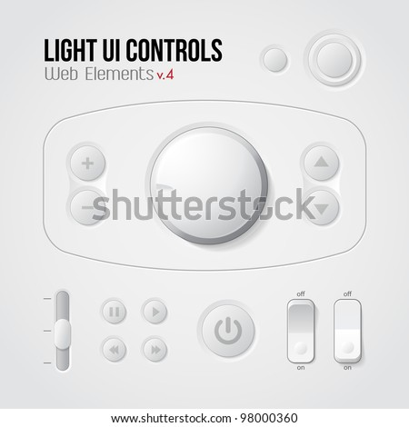 Light UI Controls Web Elements 4: Buttons, Switchers, On, Off, Player, Audio, Video: Play, Stop, Next, Pause, Volume, Equalizer - stock vector