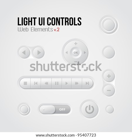 Light UI Controls Web Elements 2: Buttons, Switchers, Player, Audio, Video: Play, Stop, Next, Pause - stock vector