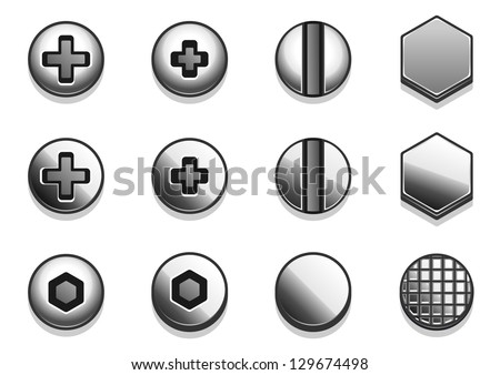 light vector bolts and rivets - stock vector