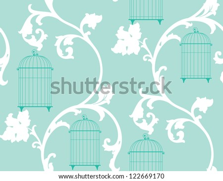 light vintage background with bird cages and white leaf - stock vector