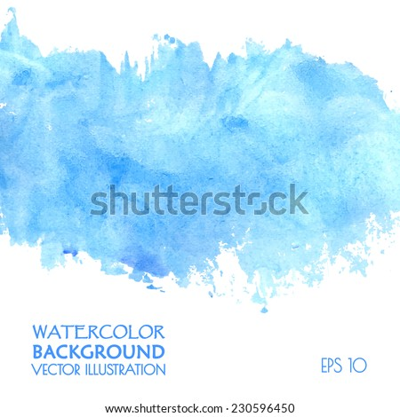 Light water blue watercolor banner for web design. Vector illustration. - stock vector