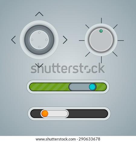 Light Web UI Elements Design Gray - stock vector