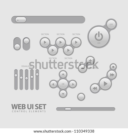 Light Web UI Elements Design Gray. Elements: Buttons, Switchers, Slider - stock vector