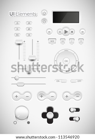 Light Web UI Elements Design Gray. Elements: Buttons, Switchers, Slider, mix, equalizer - stock vector