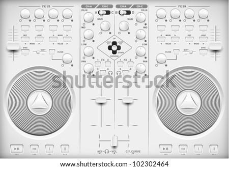 Light Web UI Elements Design Gray. Elements: Buttons, Switchers, Slider, mixer - stock vector