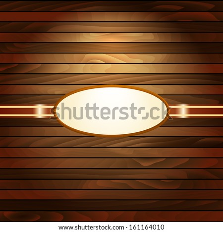 Light wooden background with elliptic frame. Frame on wooden wall. Wooden vintage postcard. Vintage gold frame on a wooden texture - stock vector