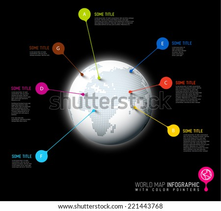 Light World map globe with pointer marks -  communication concept, dark version - stock vector