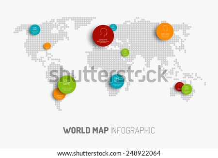 Light World map with pointer marks -  communication concept - stock vector