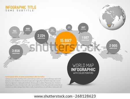 Light world map simple pointer marks stock vector 268128623 light world map with simple pointer marks speech bubbles minimalist black and white gumiabroncs Image collections