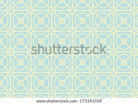 Light yellow circle and square pattern on green pastel color - stock vector