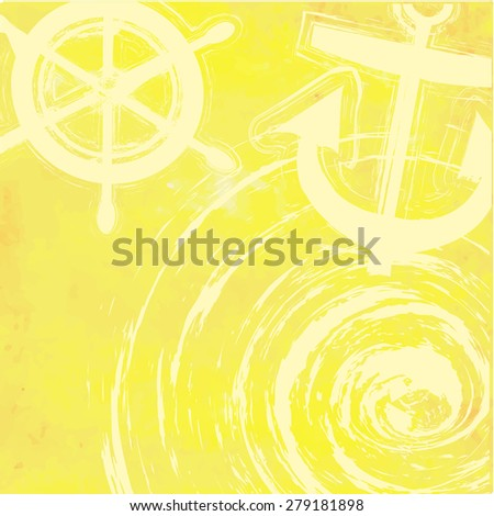 light yellow tone with retro vintage style and isolate ship anchor in summer card. - stock vector