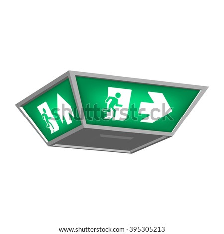 Lightbox with emergency exit signs indicating the direction of exit in case of danger. Isolated on white background.