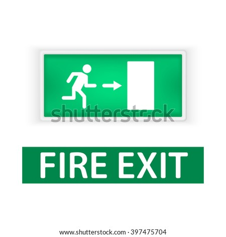 Lightbox with the emergency exit sign, and a sign in the fire Out, indicating the direction of exit in case of fire. Fire protection signs. Isolated on white background. - stock vector