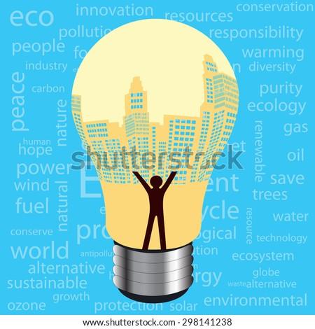 Lightbulb buildings human  - environment related words for background wallpaper  - stock vector
