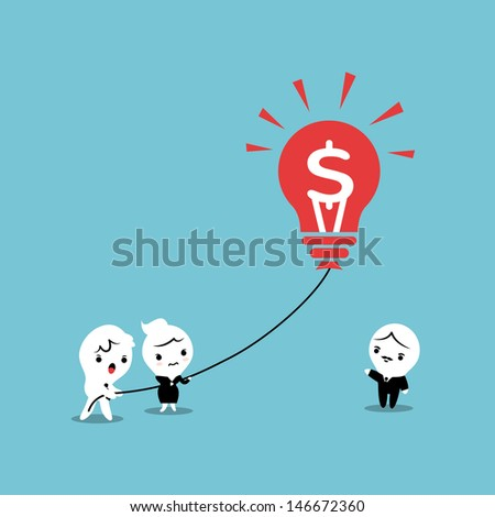 Lightbulb Business Balloon Idea Illustration - stock vector