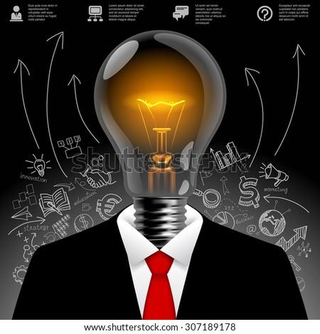Lightbulb business man.  Business idea symbol. Modern design template and business concept. Vector illustration  - stock vector