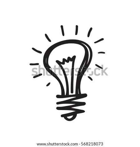 Lightbulb Creative Sketch Draw Vector Illustration Stock