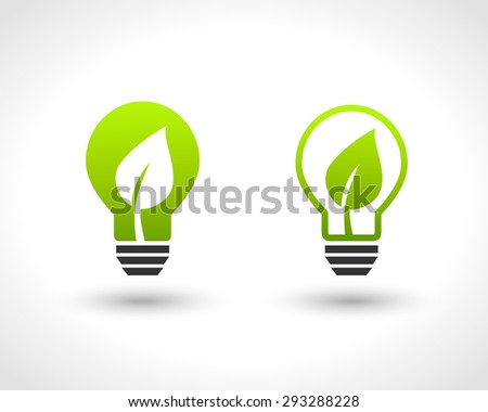 Lightbulb design with leaf as green energy symbol