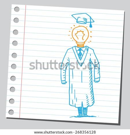 Lightbulb graduate student - stock vector