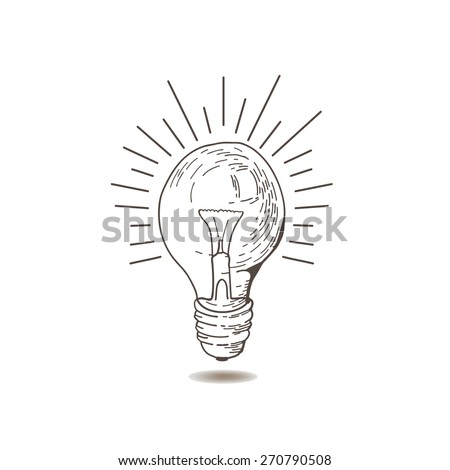 LightBulb icon. Doodle hand drawn sign. Vintage light bulb. Idea. Vector light bulb hand drawn. Light bulb on white background. Eps 8