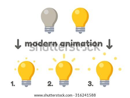 Lightbulb icon turning on animation frames. Modern vector style. - stock vector