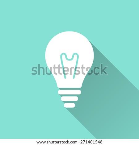 Lightbulb icon. Vector illustration, flat design.  - stock vector