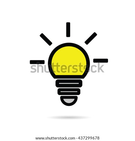 lightbulb icon yellow illustration on white background - stock vector