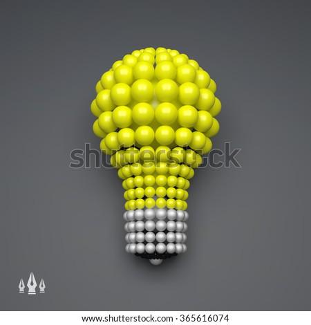 Lightbulb. Idea Concept. 3D Illustration for Marketing, Website, Business Presentation. 3d Spheres Composition. Vector illustration for Science, Technology, Web Design. Futuristic Technology Style. - stock vector
