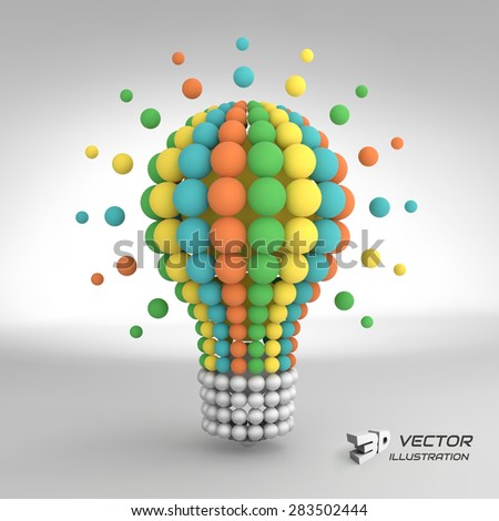 Lightbulb. Idea concept. 3d vector illustration. Can be used for business presentation. - stock vector