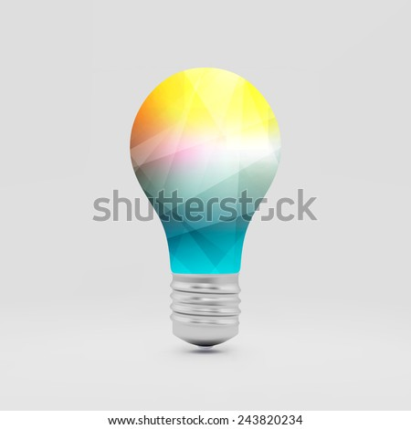 Lightbulb idea symbol. 3d vector illustration. Can be used for your business presentation. - stock vector