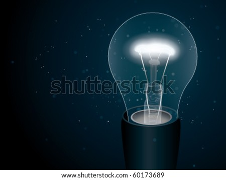 Lightbulb in the darkness - stock vector