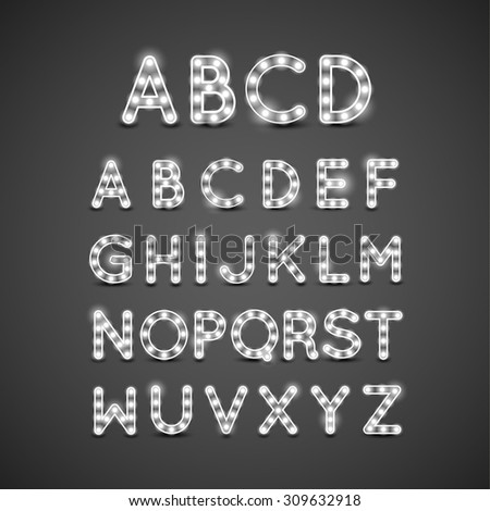Lightbulb Letters - stock vector