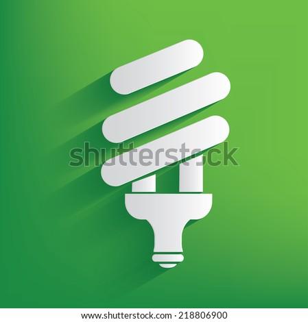 Lightbulb on green background,clean vector - stock vector