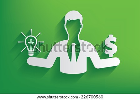 Lightbulb or money businessman design on green background,clean vector - stock vector