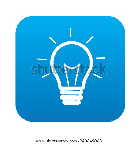 vector square blue icon lighting bulb. lightbulb symbol design on blue buttonclean vector square icon lighting bulb