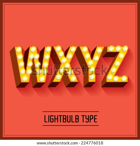 lightbulb typeface/font vector/illustration w,x,y,z - stock vector