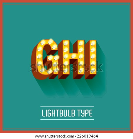 lightbulb typeface vector/illustration g,h,i - stock vector