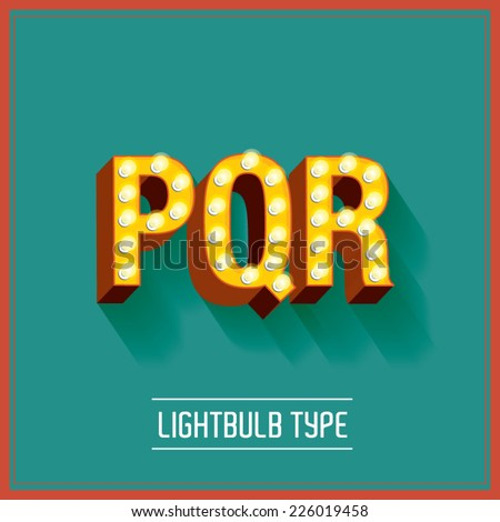 lightbulb typeface vector/illustration p,q,r - stock vector
