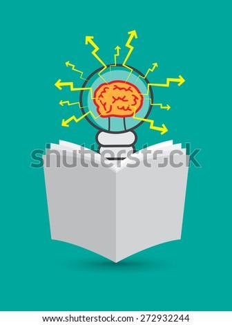 Lightbulb with brain inside, reading newspaper - stock vector