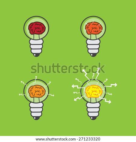 Lightbulb with brain inside, set of - stock vector