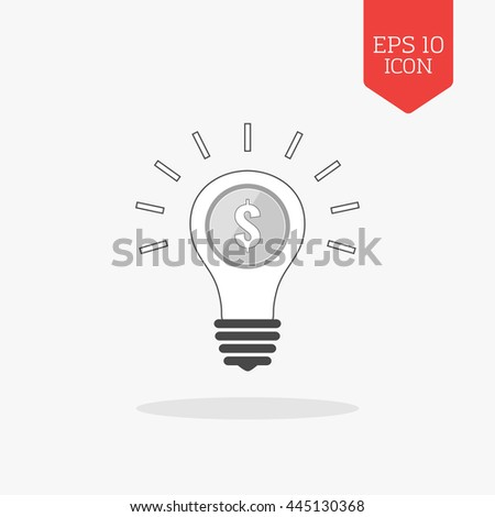Lightbulb with coin inside, profit idea concept icon. Flat design gray color symbol. Modern UI web navigation, sign. Illustration element