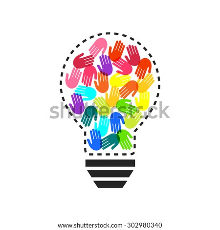 Lightbulb with colorful handprints inside as teamwork and idea concept - stock vector