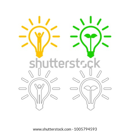 lightbulb with person and leaf outline icon